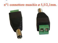 Connettore attacco maschio ø mm.5,5/2,1 max. 24 volt portata 12 ampere