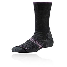 SmartWool PhD Light Crew Womens Grey Black Outdoors Walking Long Socks