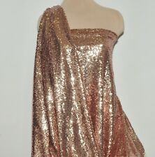 ROSE/ GOLD SEWN SEQUINS ON POWER MESH 2 WAYS STRETCH  DANCE FORMAL COSTUME