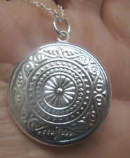 Sterling Silver Round Locket Pendant Necklace