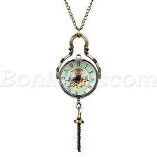 Antique Transparent Glass Roman Hand up Mechanical Sweater Chain Pocket Watch