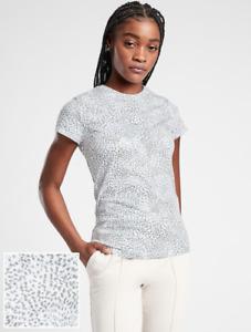 ATHLETA Organic Daily Printed Tee Shirt MP M PETITE White /Blue Star, Cotton Top