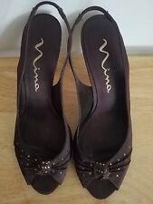 EUC! Nina brown leather & satin upper w/ 'gems' Size 10 M high heels