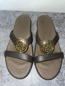 Crocs Sanrah Women's Size 8 Brown  Slip-On Sandals (14958), Excellent Clean