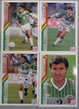 La Bolivie UPPER DECK WORLD CUP USA 94 x 4 FOOTBALL Trading Cards