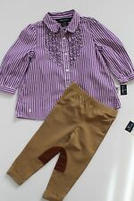 Ralph Lauren Girls Set Outfit Shirt Blouse Tan Leggings Size 18 Months