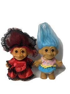 2 Russ Vintage 4 Inch Troll Dolls
