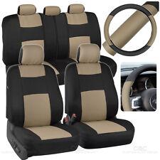 Beige Car Seat Covers Set Split Bench Option 5 Headrests w/ Steering Wheel Cover
