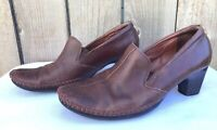 Pikolinos Women's Brown Leather Slip On Heel Clog Sandals Size US 8.5-9 / EU 39