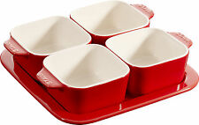 STAUB céramique Tapas Set , de 5 pièces IMMERSION Rouge Cerise Carré 19x19cm