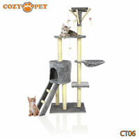 Cozy Pet Deluxe Cat Tree Sisal Scratching Post Quality Cat Trees - CT06-Grey