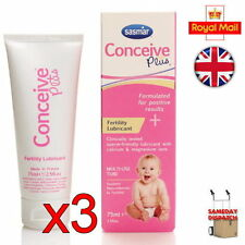 New 3x Sasmar Conceive Plus Fertility Lubricant Sperm Friendly 75ml Brand New UK