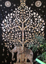 Twin Tapestry Tree Of Life Elephant Indian Wall Hanging Throw Home Decorativ Art