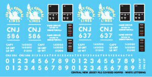 HO Scale - CNJ PS2 Covered Hopper White Lettering Decals