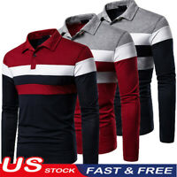 2020 US Mens Casual Shirts Long Sleeve Warm Cotton Striped Print T Shirt S -2XL
