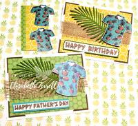 Stampin Up 4 Card Kit Hawaiian Shirt Happy Father's Day Birthday Retirement Luau