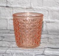 Vintage Depression Glass Vase Pink Basket Weave Pattern Tapered Vessel 5 inch