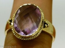 C139 SUPERB 9ct Solid Yellow Gold Large Natural AMETHYST Ring made in your size
