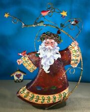 "Christmas Metal Santa Figurine 11.5"" Tall Free Standing Birds Birdhouse"