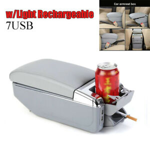 7USB Car Truck Auto Central Container Armrest Box Storage w/Light Rechargeable