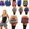 "Ladies Short Mini 9"" 12 14"" Skirt Scottish Tartan Full Pleated Box Skirts 8-18"