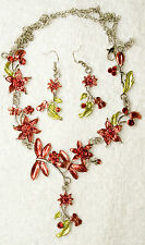 vintage style new jewelry set Red butterfly flower necklace earrings silver tone