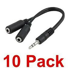 NEW 10 pack 6 inch 3.5mm 1/8 headphone mini jack splitter male to 2 female cable