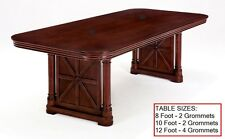 10 Foot Rectangle Conference Table with GROMMETS Real Cherry Wood FANCY LEGS