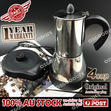 Electric Espresso Moka Stainless steel Coffee Maker Italian Classic 4cups AU