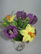 VINTAGE HANDMADE GLASS BEADED FLOWERS