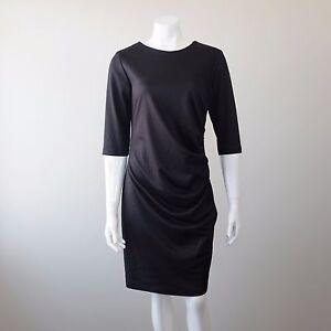 NWT Makadamia Poland Occasion Black 3/4 Sleeves Ruched Dress Size 42 AU 14