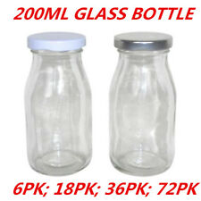 Mini Small Glass Milk Juice Candy Bottle 200ML With Screw Top Silver White Lid