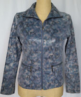 Chico's Leather Jacket Size 0 Small Blue Gray Snakeskin Full Zip Long Sleeve