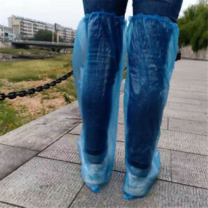 50pcs Disposable Long Shoe Cover Waterproof Anti Slip Knee Boots Cover Overshoes