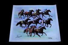 AMERICAN PHAROAH SIGNED CANVAS GICLEE VICTOR ESPINOZA HORSE RACING BOB BAFFERT