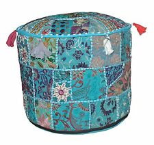 Blue Color Handmade Pouffe Vintage Patchwork Ottoman Indian Cotton Round Pouf