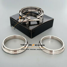 """4"""" 102mm Turbo Downpipe Exhaust Stainless 304 V-band Clamp+2 Flanges+M8 Bolt"""