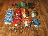 Heroscape Game Parts Lot Cards, Figures, Grass Tile, Ruins, Combat Dice, Markers