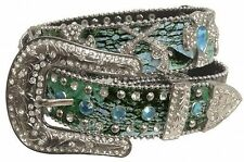 Showman Couture XS/SM Western Blue Camo Belt with Rhinestone Conchos