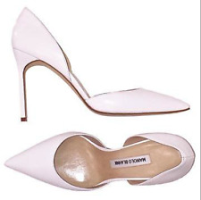 MANOLO BLAHNIK BB white leather pointed toe high heel d'Orsay Pumps Sz 38