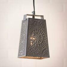Primitive new smokey black punched tin cheese grater hanging light / nice
