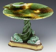ANTIQUE WEDGWOOD MAJOLICA DOLPHIN & SHELL STAND 19TH C.