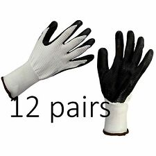 12 x BUILDERS / CONSTRUCTION / GARDENING WORK GLOVES LATEX RUBBER COATED Size M