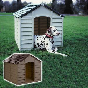 PLASTIC WEATHERPROOF OUTDOOR OR INDOOR DOG KENNEL PET SHELTER GARDEN 2 COLOURS