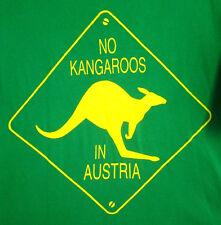 NO KANGAROOS IN AUSTRIA small T shirt Australia road sign humor tee