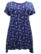 IVANS BLOSSOM FLORAL ASYMMETRIC HEM JERSEY TOP - SIZES 22/24 26/28 30/32 34/36