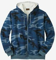 Men Big & Tall Blue Gray Brown Camo Hoodie Thermal Lined Jacket Sizes 5x, 6x, 3x