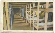 """1917 WWI Military Color Post Card """"Camp Bunks"""" Camp MacArthur, Waco, TX Posted"""