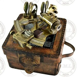 1917 Kelvin & Hughes Antique Collectible Working Sextant With Leather Case