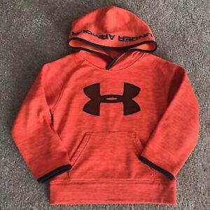 Under Armour Toddler Boy Orange Big Logo Hoodie Sweatshirt Size 4T